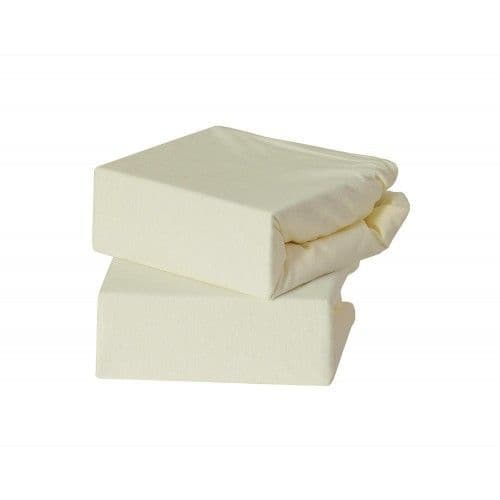 2 Pack  Jersey Fitted Sheets Cream